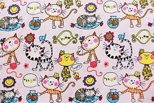 AU FREE SHIPPING Cute Cats Pink Kawaii Cat Japanese Cotton Fabric QUILTING FQ