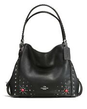 NWT❤️$450 COACH Leather Western Rivets Edie 31 Shoulder Bag BLACK Silver 57660