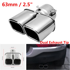 1Pc Universal Chrome Dual Pipe Car Exhaust Muffler Tail Tip Silencer Inlet 63mm