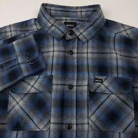 RVCA Mens Hostile Flannel Shirt Size Small Regular Fit Plaid Blue & Gray Cotton