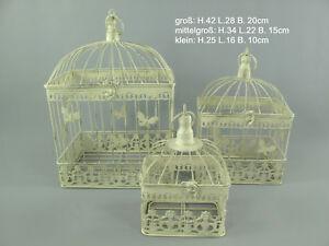 Antico Decorazione Gabbia 3er-Set, Metallo per Piante Fiori Antico-Bianco
