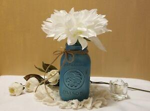 "Rustic Chic Wedding Mason Jar Vase  Wedding Centerpiece  Farmhouse Rustic 7"""