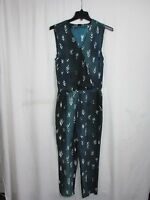 Dolce Vita Turquoise & Cream Print V Neck Jumpsuit Women's Size Small