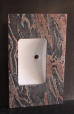 """Single Rectangular Sink Multicolored Red Granite Top 37"""" For 4"""" spread  Faucet"""