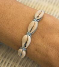 Bracelet Bahia fil coton ciré ciel bleu 4 cauris coquillage brésilien 1120