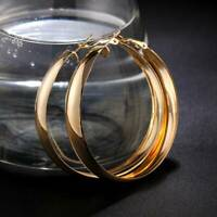 Fashion Sparkly Women Smooth Gold Filled Big Hoop Dangle Earrings Jewelry