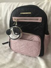 Betsey Johnson Baby Diaper Bag Backpack Pink Blush & Black Quilted Rose