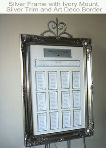 Silver Luxury Wedding Seating Plan Frame – Large Baroque style - Customisable