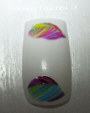 Nail Art Water Transfer- Feather Decal #313 SY1724 Sticker Wrap Shiny Pink Blue