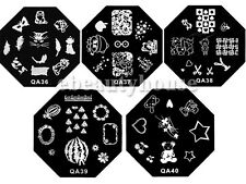 5 Pcs Nail Art Stamp Metal Image Plates Design Template #063K-QA36-40