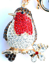 Robin Red Breast Handbag Charm Keyring Diamante Rhinestone Charm NEW
