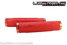 Uberbike Fat Grip 150mm Lock on mountain bike Handlebar Grips Red/Orange