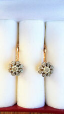 Heavy White Yellow Gold Leverback Diamond Earrings 0.95 CWT F-SI1 14k