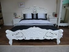 Rococo Double Bed In White - Handmade & Hand Carved
