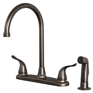 Classic High Arc Swivel Kitchen Faucet with Side Spray Brushed Bronze Finish