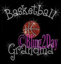 Basketball Grandma - C Rhinestone Iron on Transfer Hot Fix Bling Sports School