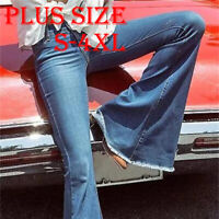 Women Flare Denim Jeans Bell Bottom Stretch Pant Slim Mid Waist Trousers US