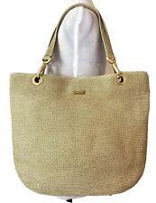 Eric Javits Handbag Tan Gold Squishee Tote Bag Purse Shoulder Bag