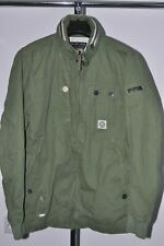 DUCK AND COVER GREEN Military JACKET SIZE LARGE hooded lightweight spring