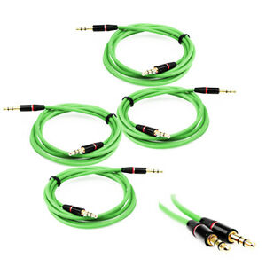 4X 3.5MM AUX AUXILIARY STRAIGHT AUDIO CABLE GREEN FOR NOKIA LUMIA 920 Z10 Z30