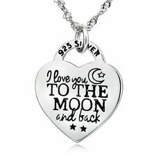 I love u to the moon and back Necklace MOON Heart pendant in 925 sterling Silver