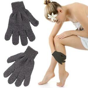 pair Bamboo Charcoal Exfoliating Gloves Bath Shower Spa Skin Care Body Scrub