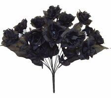 72 Open Roses Black Long Stem Silk Rose Wedding Bouquets Centerpiece Flowers