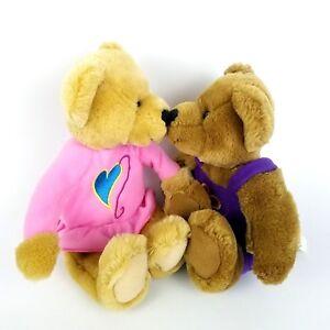 "Hallmark Kissing Bears Magnetic Noses Love Kiss Hearts 10"" Plush Valentine"