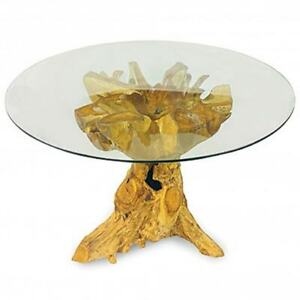 DINING TABLE TEAK ROOT GLASS 150 CM ROUND RECLAIMED SOLID TEAK ROOT
