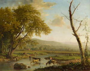 George Inness Pastoral Scene Giclee Art Paper Print Poster Reproduction