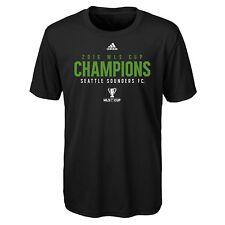 New Youth MLS Seattle Sounders 2016 Champions T Shirt Size Medium 10-12 Black
