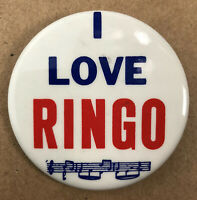 "I Love Ringo Button Pin 2"" Collectible The Beatles Pin Made in USA"