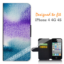 Apple iPhone 4 4G 4S Wallet Flip Phone Case Cover Purple Pressed Y00922
