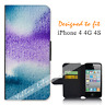 For Apple iPhone 4 4G 4S Wallet Flip Phone Case Cover Purple Pressed Y00922