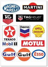 Martini Tag Heuer Shell Motul Esso Gulf Magneti M. Old School Stickers 12 Piece