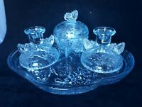 VINTAGE ART DECO STYLE BLUE  GLASS DRESSING TABLE SET 4 PIECE STUNNING