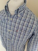 Tommy Hilfiger Long Sleeve Shirt Blue Check Long Sleeve Small 42 Chest Designer
