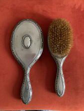 Antique/ Vintage Vanity Mirror & Brush Set Floral Detail around Edge