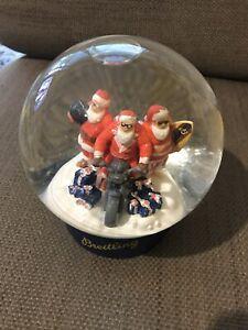 Collectable BREITLING CHRISTMAS Santas w Surfboard & Motorbike GLASS Snow Globe