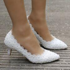 Decolté decolte scarpe donna ballerina  pizzo bianco sposa 5.5 cm