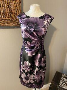 Connected Purple Black Stretch Sheath Dress 14 Washable