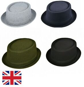 Wool Blend Unisex Pork Pie Hat with Band FAST DELIVERY