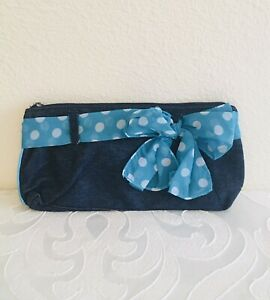 Mary Kay Denim Clutch with Blue Polka Dot Bow Weekender Collection