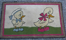 ANTIQUE PRIMITIVE COUNTRY HOME DUCK BIRD HOOKED RUG ART CARPET KITCHEN TEXTILE