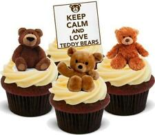 Keep Calm Love Teddy Bears Mix - 12 Edible Stand Up Premium Card Cake Toppers