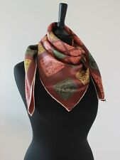 Silk Scarf 1950s Vintage Square Multi Coloured Hand Rolled Edges Head Neck Scarf