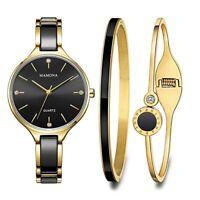 Ensemble cadeau montre pour femme et bracelets noirs assortis de cristaux