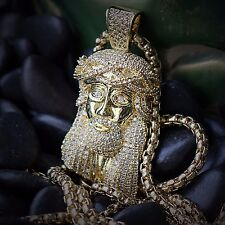 14k Gold Plated Mini Micro Jesus Head Piece Pendant Chain Hip Hop Necklace