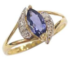 10KT YELLOW GOLD MARQUISE IOLITE & DIAMOND RING SIZE 7   R960