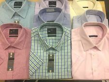 Ex M&S PURE COTTON Men SHORT SLEEVE SHIRTS Non Iron Performance Reg & SLIM Fit